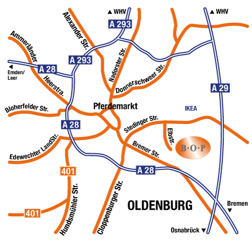 Anfahrt BOP GmbH & Co. Betriebs-KG Oldenburg